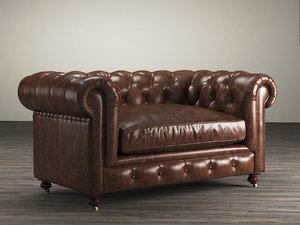 3D 60 kensington leather sofa model