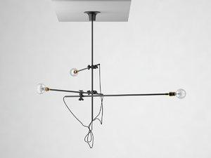 3D 3 arm chandelier