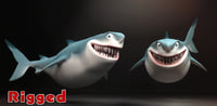 -cartoon shark rigging animation 3D