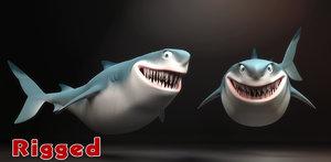-cartoon shark rigging animation 3D