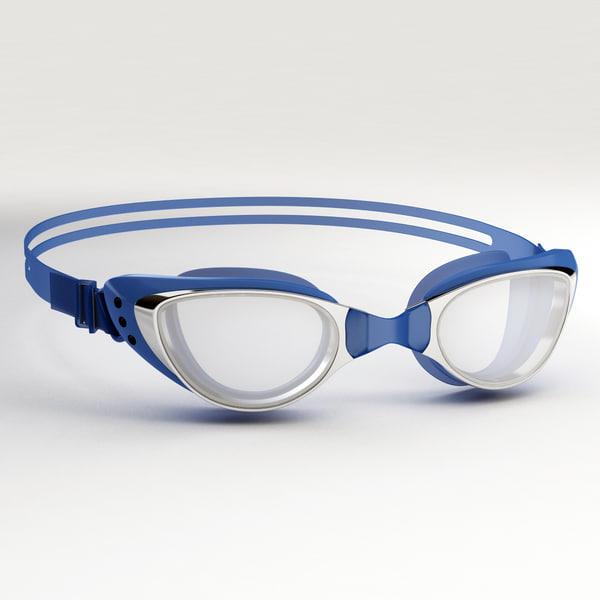 swim goggles blue 3D model