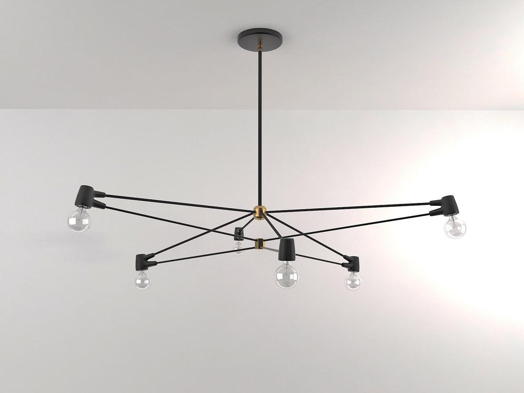 3D model 6-arm cord chandelier