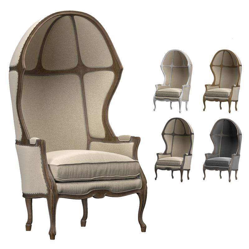 3D armchair versailles dome