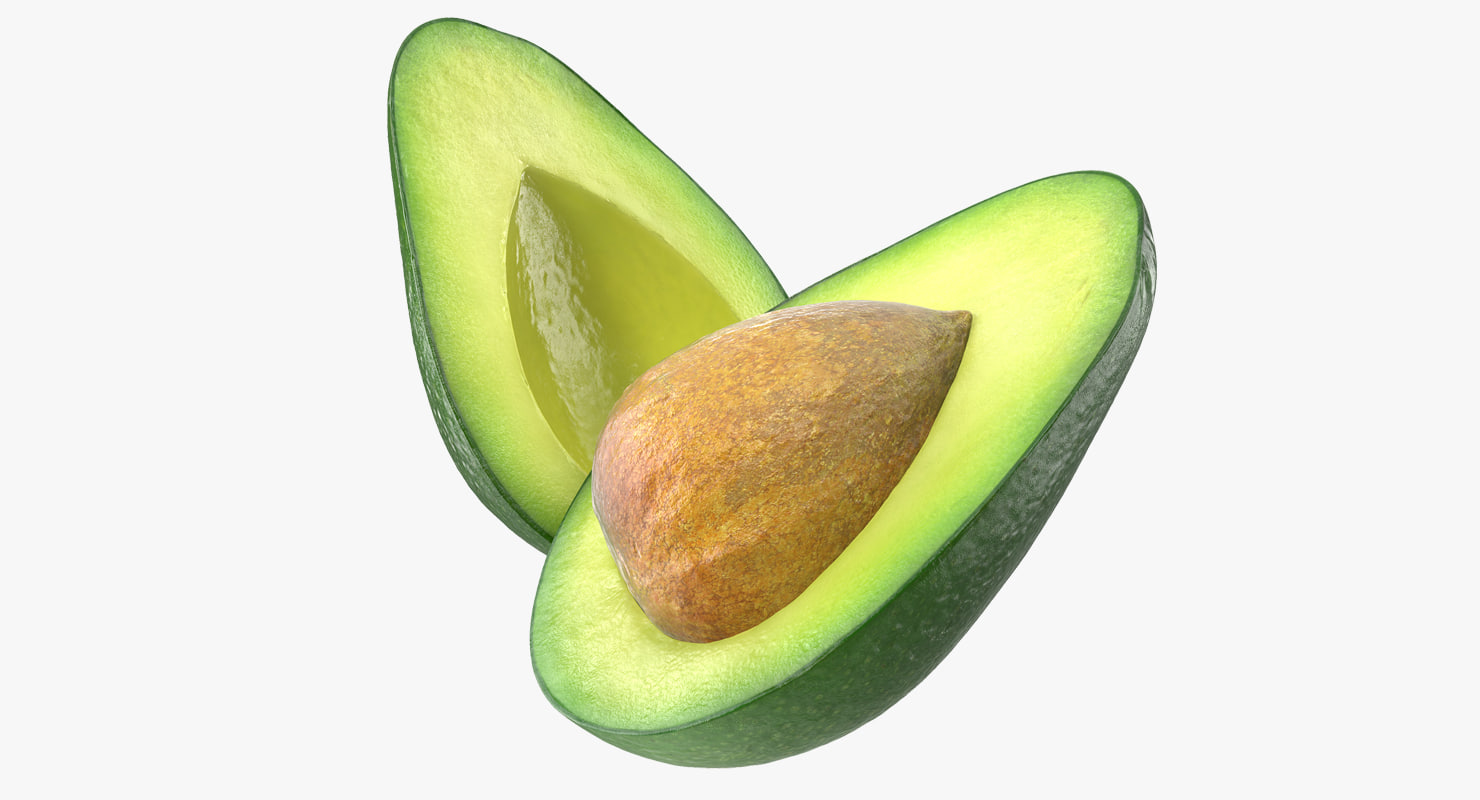 avocado cut half seed 3D model