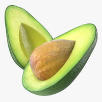 avocado cut half seed 3D model