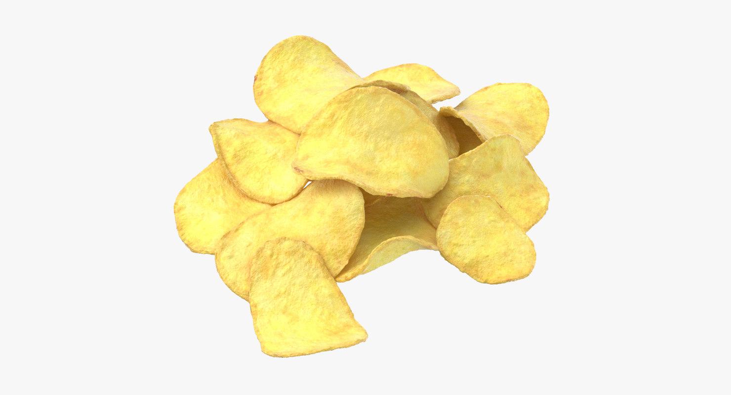 3D potato chips 02 model
