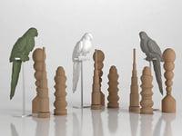 3D parrot set