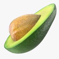avocado half seed 3D