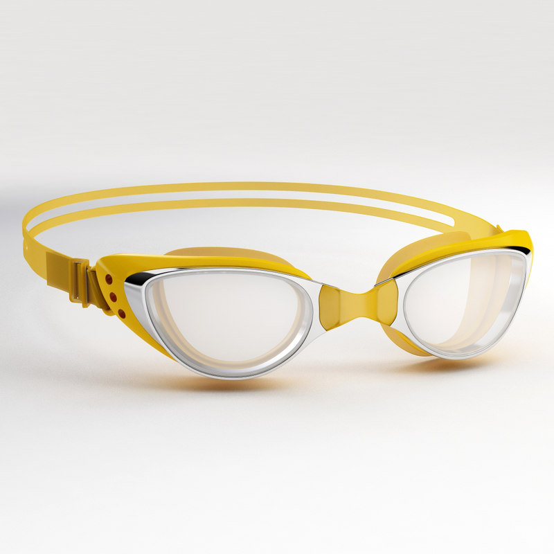 swim goggles orange 3D model