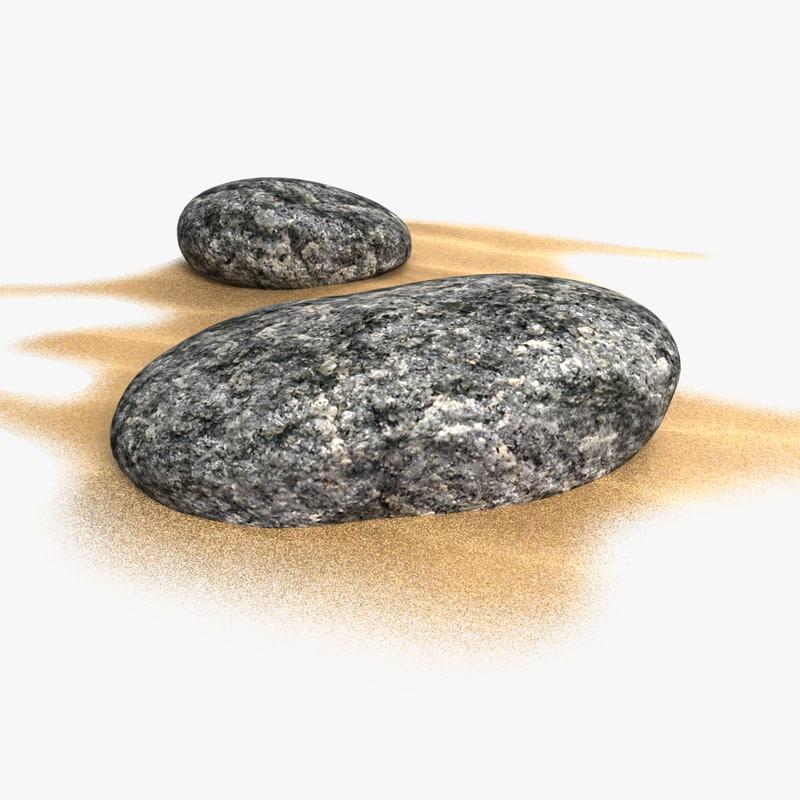 3D cartoon stones sand