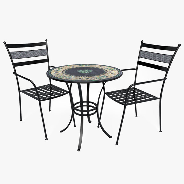 3D patio set table chair
