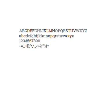 roboto slab font alphabet 3D