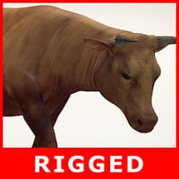 3D brown cow model