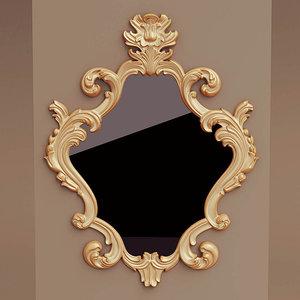 antique wall mirror 3D