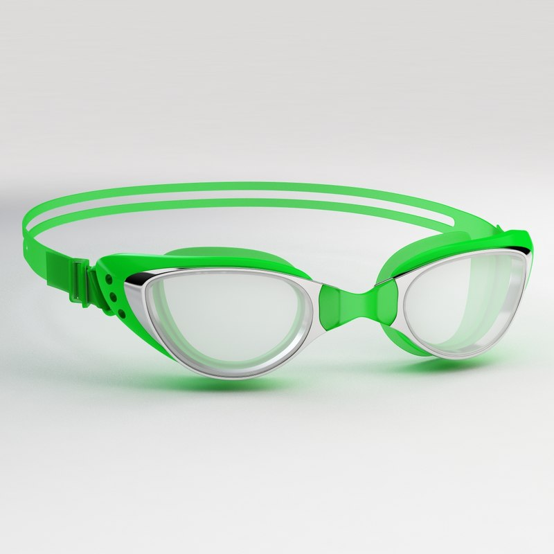 3D swim goggles green