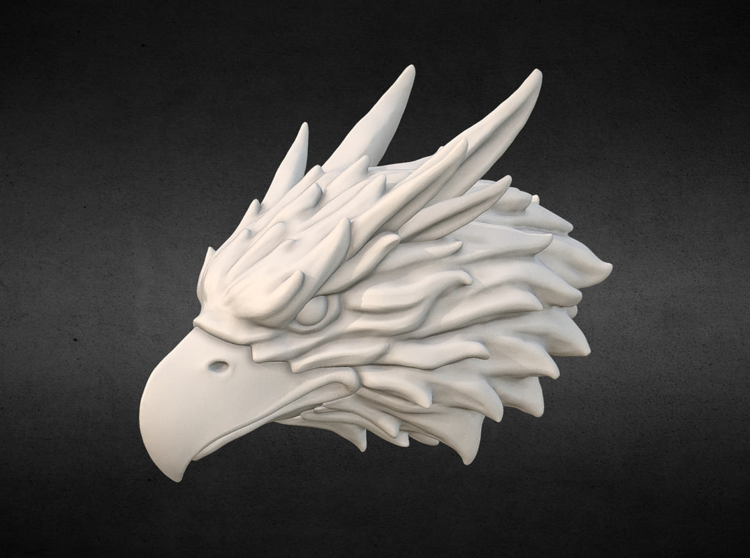 3D griffin head print ready