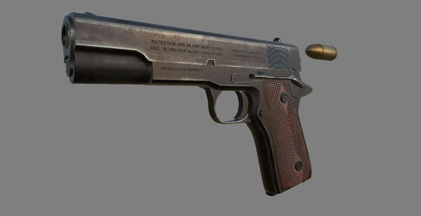 pistol m1911 3D model