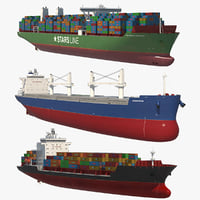 container ship 3D