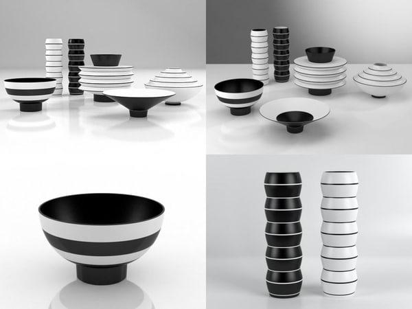 3D vases bowls