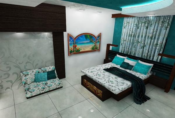 3D master bedroom interior