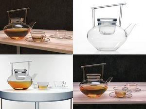 3D glass teapot set