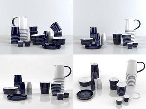 cobalt dinnerware 3D model