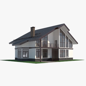 3D model white contemporary house interior