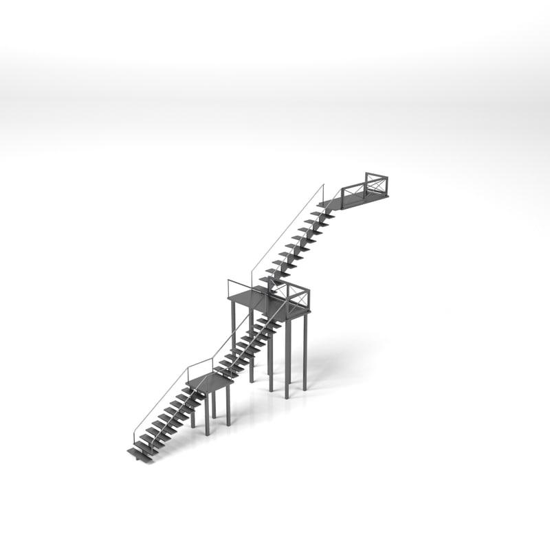 3D stairs metal