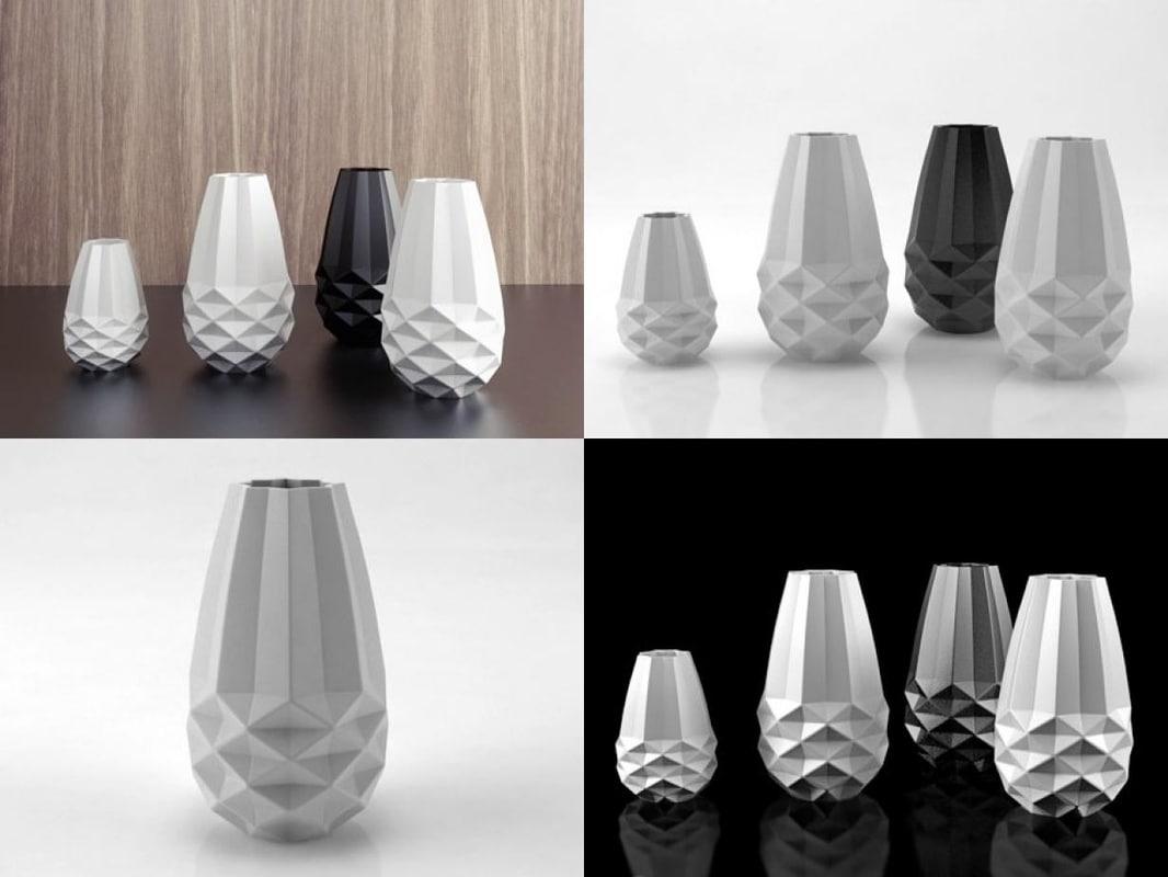 facet vases 3D