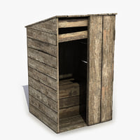 3D wooden wood toilet model