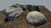 3D boulders scanned model