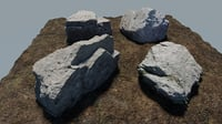 Photo-Realistic Boulders 4-Pack B