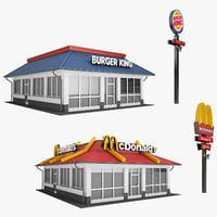 burger restaurant 01 3D model