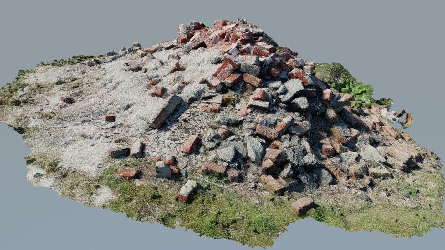 3D pile rubble model