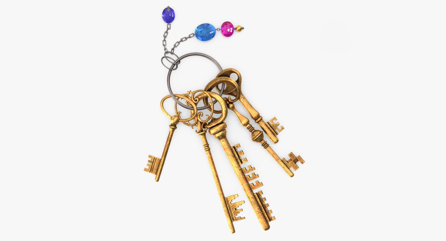keys keychain 3D model