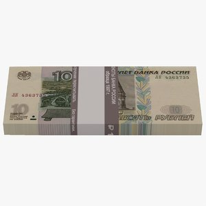 3D model bank russian roubles banknotes