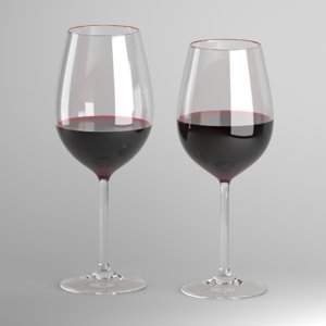 glass wine red 3D model