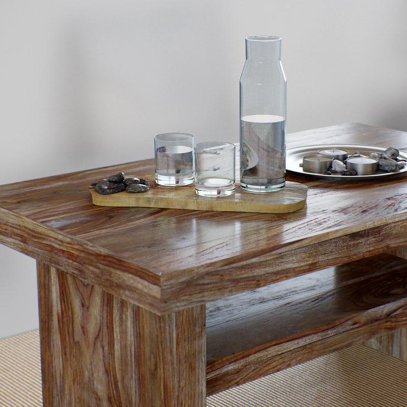 table wooden living room 3D model