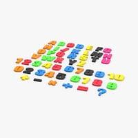 3D model alphabet-fridge-magnets