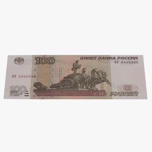 3D 100 roubles russian banknote model