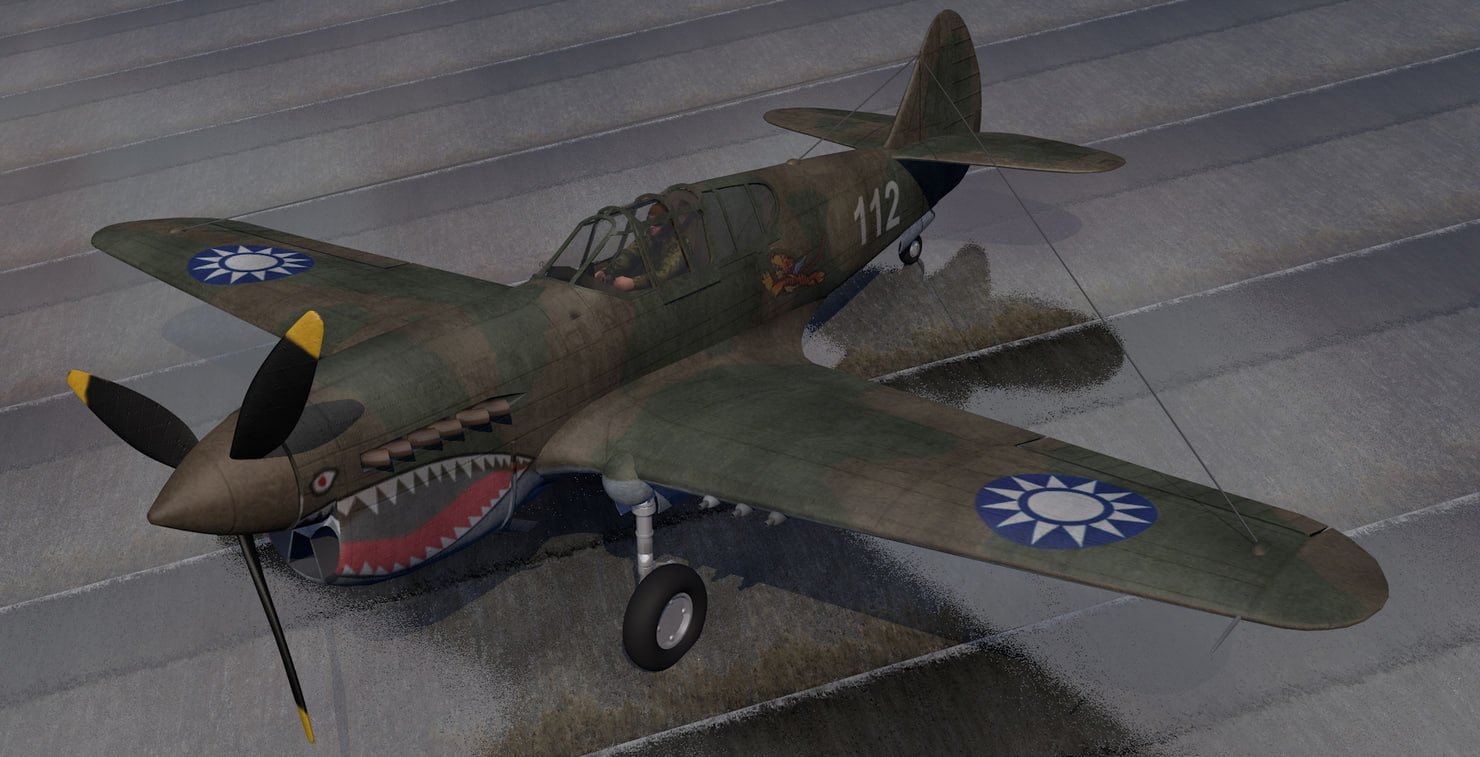 3D plane curtiss p-40e warhawk
