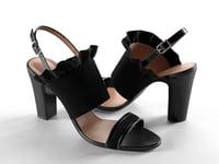 black heeled sandals 3D model