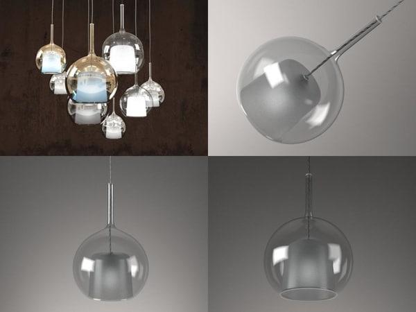 3D glo pendant light model