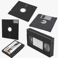 floppy disks vhs cassette tape 3D model