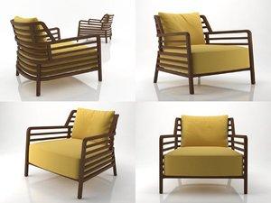 3D model flax armchair