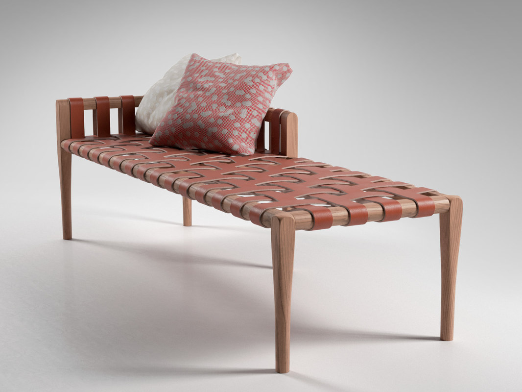 woven leather bench 3D model