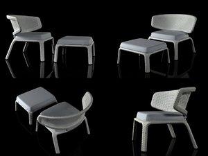 3D seashell lounge chair footstool model
