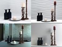 3D candle set 02 model