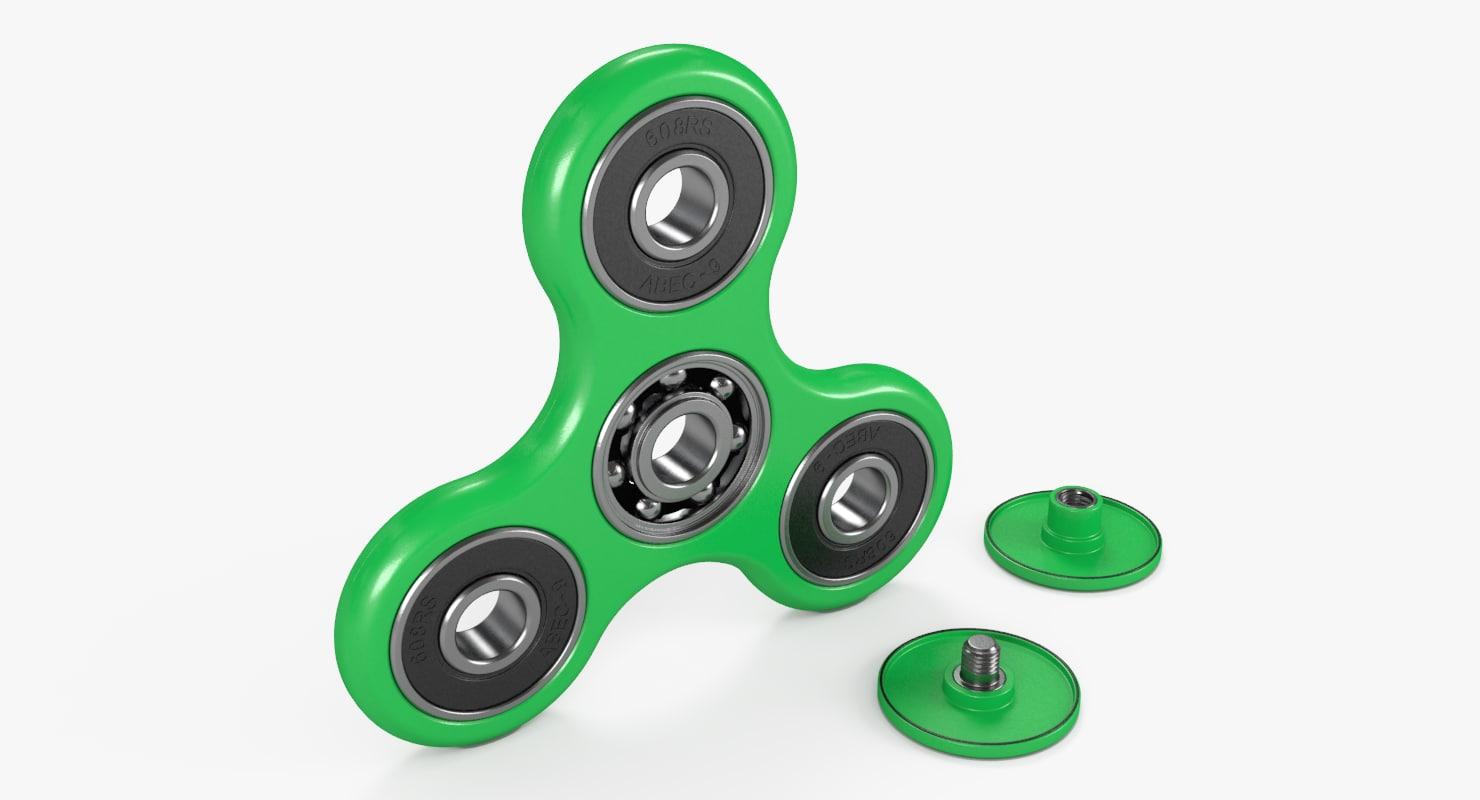 3D model fidget spinner green