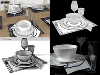 3D table set 01 model